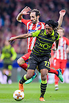 Gelson Martins of Sporting CP (front) fights for the ball with Juan Francisco Torres Belen, Juanfran, of Atletico de Madrid (back) during the UEFA Europa League quarter final leg one match between Atletico Madrid and Sporting CP at Wanda Metropolitano on April 5, 2018 in Madrid, Spain. Photo by Diego Souto / Power Sport Images