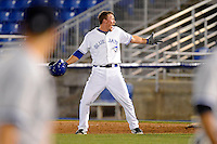Dunedin Blue Jays outfielder Marcus Knecht #4 reacts after the game winning hit during a game against the Tampa Yankees on April 11, 2013 at Florida Auto Exchange Stadium in Dunedin, Florida.  Dunedin defeated Tampa 3-2 in 11 innings.  (Mike Janes/Four Seam Images)