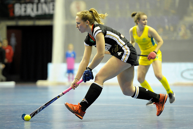 Berlin, Germany, February 09: During the FIH Indoor Hockey World Cup Pool B group match between Germany (black) and Australia (yellow) on February 9, 2018 at Max-Schmeling-Halle in Berlin, Germany. Final score 2-2. (Photo by Dirk Markgraf / www.265-images.com) *** Local caption *** Nike LORENZ #4 of Germany