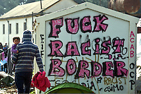 "Pictured: A ""Fuck Racist Border"" graffiti on a wall Tuesday 01 March 2016<br /> Re: Thousands of migrants, still stranded at the Greek FYRO Macedonian border in Idomeni, Greece"
