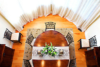 wooden round table from above