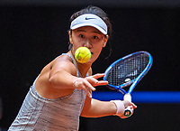 Den Bosch, The Netherlands, April 16, 2021,    Maaspoort, Billy Jean King Cup  Netherlands -  China , seccond Match:  Xiyu Wang (CHN)<br /> Photo: Tennisimages/Henk Koster