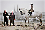 no fee for repro..Show Jumping Horse, Hawkland Silver Prince and rider Nicola Perrin pictured here on Sandymount Beach, Dublin with Brendan Murphy, CEO of Allianz (left) and Sean McGrath, Allianz (centre) at the launch of the companies new horse and rider insurance and their sponsorship of Kill Equestrian Centre in Co. Kildare. Pic. Robbie Reynolds.