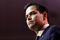 National Harbor, Maryland, USA. 6th March 2014. Republican senator Marco Rubio of Florida speaks during an address to delegates at the Conservative Political Action Conference (CPAC). Alamy/Trevor Collens.