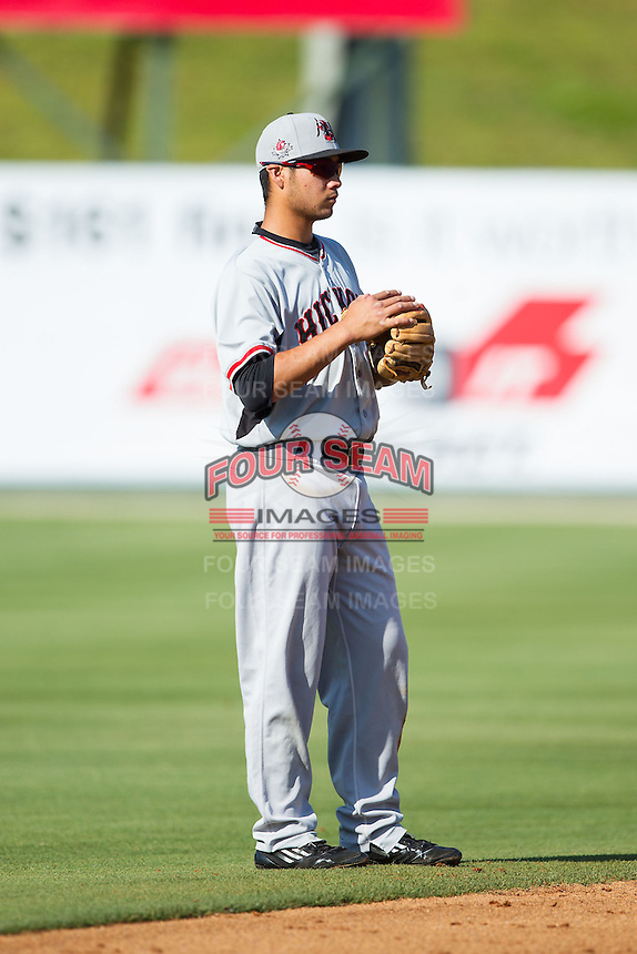Hickory Crawdads shortstop Isiah Kiner-Falefa (8) on defense against the Kannapolis Intimidators at CMC-Northeast Stadium on May 4, 2014 in Kannapolis, North Carolina.  The Intimidators defeated the Crawdads 3-1.  (Brian Westerholt/Four Seam Images)