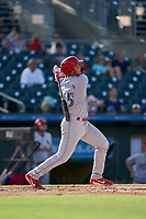 Clearwater Threshers Matt Kroon (45) bats during a Florida State League game against the Palm Beach Cardinals on August 10, 2019 at Roger Dean Chevrolet Stadium in Jupiter, Florida.  Clearwater defeated Palm Beach 11-4.  (Mike Janes/Four Seam Images)