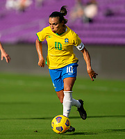 ORLANDO, FL - FEBRUARY 18: Marta #10 of Brazil dribbles during a game between Argentina and Brazil at Exploria Stadium on February 18, 2021 in Orlando, Florida.