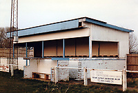 Main stand at Milton Keynes Borough Football Club, Manor Fields, Bletchley, Buckinghamshire, pictured on 1st December 1990