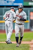 25 July 2017: Tri-City ValleyCats third baseman Abraham Toro-Hernandez rounds third to score on a solo home run in the 9th inning against the Vermont Lake Monsters at Centennial Field in Burlington, Vermont. The Lake Monsters defeated the ValleyCats 11-3 in NY Penn League action. Mandatory Credit: Ed Wolfstein Photo *** RAW (NEF) Image File Available ***