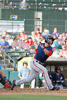 Potomac Nationals outfielder Rhett Wiseman (9) at bat during a game against the Myrtle Beach Pelicans at Ticketreturn.com Field at Pelicans Ballpark on July 1, 2018 in Myrtle Beach, South Carolina. Myrtle Beach defeated Potomac 6-1. (Robert Gurganus/Four Seam Images)