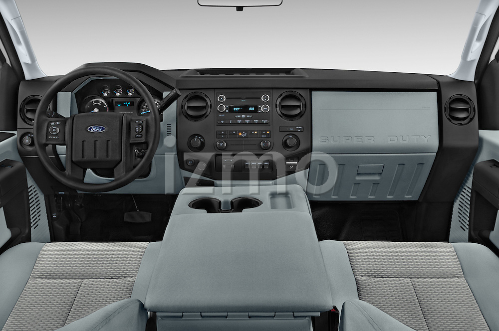 Stock photo of straight dashboard view of a 2015 Ford F-350 Super Duty XL 4x4 SuperCab 158-In DRW 2 Door pickup Dashboard