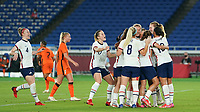 YOKOHAMA, JAPAN - JULY 30: Players of the United States celebrate Lynn Williams's goal during a game between Netherlands and USWNT at International Stadium Yokohama on July 30, 2021 in Yokohama, Japan.