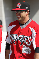 Sean Danielson #8 of the Carolina Mudcats before a game against the Tennessee Smokies on April 20, 2010 in Zebulon, NC.