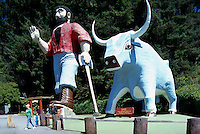 "Statues of Paul Bunyan and Babe, the Blue Ox, at the ""Trees of Mystery"", Klamath, California, USA - for editorial use only"