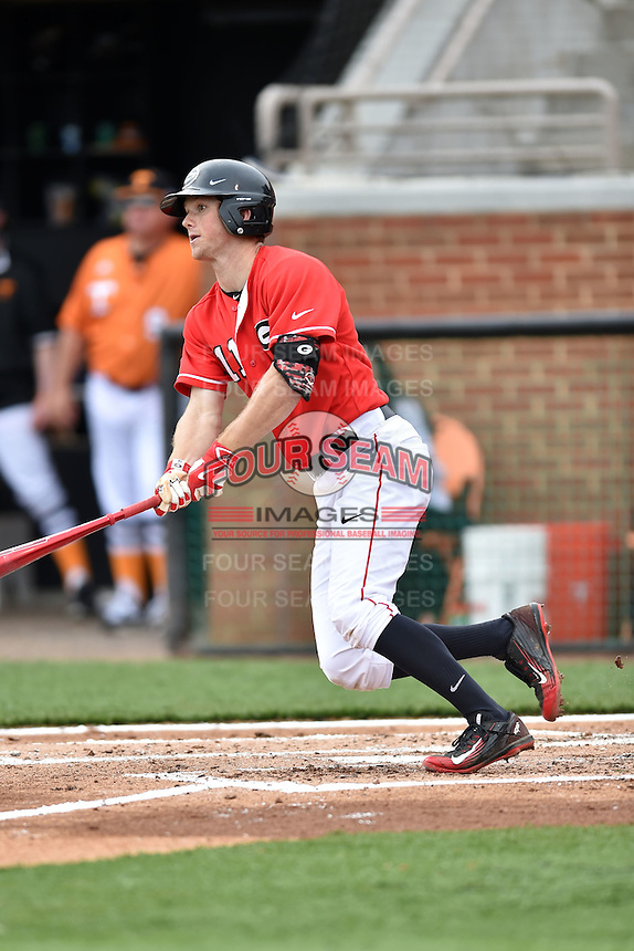 Georgia Bulldogs center fielder Stephen Wrenn(11) swings at a pitch during a game against the Tennessee Volunteers at Lindsey Nelson Stadium March 21, 2015 in Knoxville, Tennessee. The Bulldogs defeated the Volunteers 12-7. (Tony Farlow/Four Seam Images)