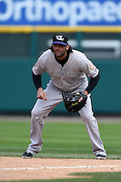 Louisville Bats third baseman Mike Costanzo (4) in the field during a game against the Rochester Red Wings on May 4, 2014 at Frontier Field in Rochester, New  York.  Rochester defeated Louisville 12-6.  (Mike Janes/Four Seam Images)