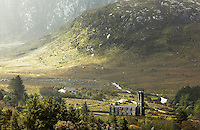 Dunlewy Church ruins in valley bottom, Dunlewy, County Donegal, Republic of Ireland