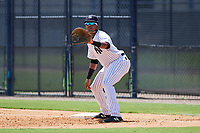 GCL Yankees East first baseman Starlin Paulino (6) during a game against the GCL Blue Jays on August 2, 2018 at Yankee Complex in Tampa, Florida.  GCL Yankees East defeated GCL Blue Jays 5-4.  (Mike Janes/Four Seam Images)