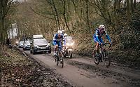 Niki Terpstra (NED/Quick-Step Floors) & Yves Lampaert (BEL/Quick Step Floors) leading the race up the muddy Karnemelkbeekstraat<br /> <br /> 61th E3 Harelbeke (1.UWT)<br /> Harelbeke - Harelbeke (206km)