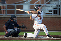 Kyle Tucker (30) of the Buies Creek Astros drops to one knee as he follows through on his swing against the Wilmington Blue Rocks at Jim Perry Stadium on April 29, 2017 in Buies Creek, North Carolina.  The Astros defeated the Blue Rocks 3-0.  (Brian Westerholt/Four Seam Images)