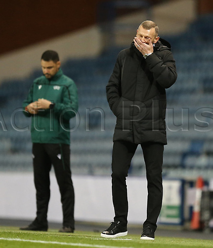 29th October 2020, Ibrox Stadium, Glasgow, Scotland; UEFA Europa League football, group stages; Glasgow Rangers versus Lech Poznan;   Dariusz Zuraw manager of Lech Poznan reacts