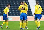 Kilmarnock v St Johnstone...01.10.11   SPL Week 10.Francisco Sandaza celebrates his goal with David Robertson.Picture by Graeme Hart..Copyright Perthshire Picture Agency.Tel: 01738 623350  Mobile: 07990 594431