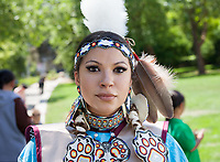 Native American Woman, NW Folklife Festival, Seattle, WA, USA.