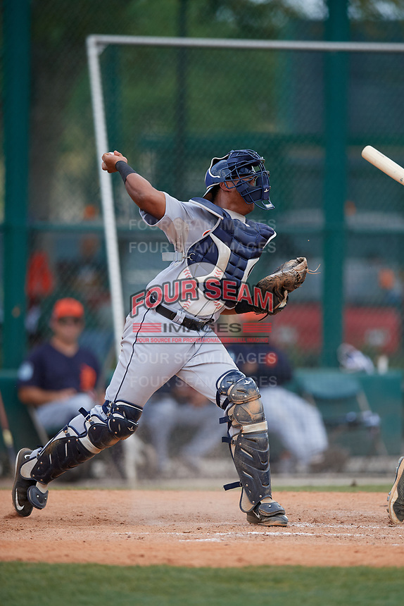 Detroit Tigers Franklin Navarro (73) throws down to second base during a minor league Spring Training game against the Atlanta Braves on March 25, 2017 at the ESPN Wide World of Sports Complex in Orlando, Florida.  (Mike Janes/Four Seam Images)