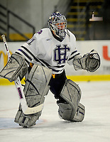 30 December 2007: Holy Cross Crusaders' goaltender Charlie Lockwood, a Junior from Breckenridge, Colorado, warms up prior to a game against the Western Michigan University Broncos at Gutterson Fieldhouse in Burlington, Vermont. The teams skated to a 1-1 tie, however the Broncos took the consolation game in a 2-0 shootout to win the third game of the Sheraton/TD Banknorth Catamount Cup Tournament...Mandatory Photo Credit: Ed Wolfstein Photo