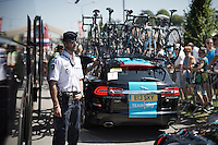 police keeping guard at the sky-bus at the start<br /> <br /> stage 16: Bourg de Péage - Gap (201km)<br /> 2015 Tour de France
