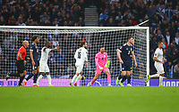 9th October 2021; Hampden Park, Glasgow, Scotland; FIFA World Cup football qualification, Scotland versus Israel;  Ofir Marciano of Israel celebrates after saving Lyndon Dykes of Scotland penalty in the 45th minute