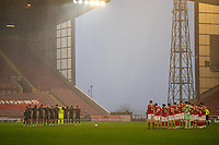 21st November 2020, Oakwell Stadium, Barnsley, Yorkshire, England; English Football League Championship Football, Barnsley FC versus Nottingham Forest; both teams observe the minute silence
