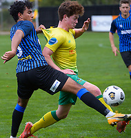 Karan Mandair and Finn Conchie fight for possession during the Central League football match between Miramar Rangers and Lower Hutt AFC at David Farrington Park in Wellington, New Zealand on Saturday, 10 April 2021. Photo: Dave Lintott / lintottphoto.co.nz