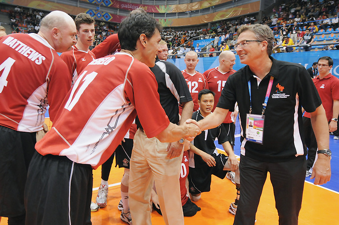 Henry Storgaard, Guadalajara 2011 - Sitting Volleyball // Volleyball Assis.<br /> Team Canada takes on Columbia in the Bronze Medal Game // Équipe Canada affronte Columbia dans le match pour la médaille de bronze. 11/18/2011.