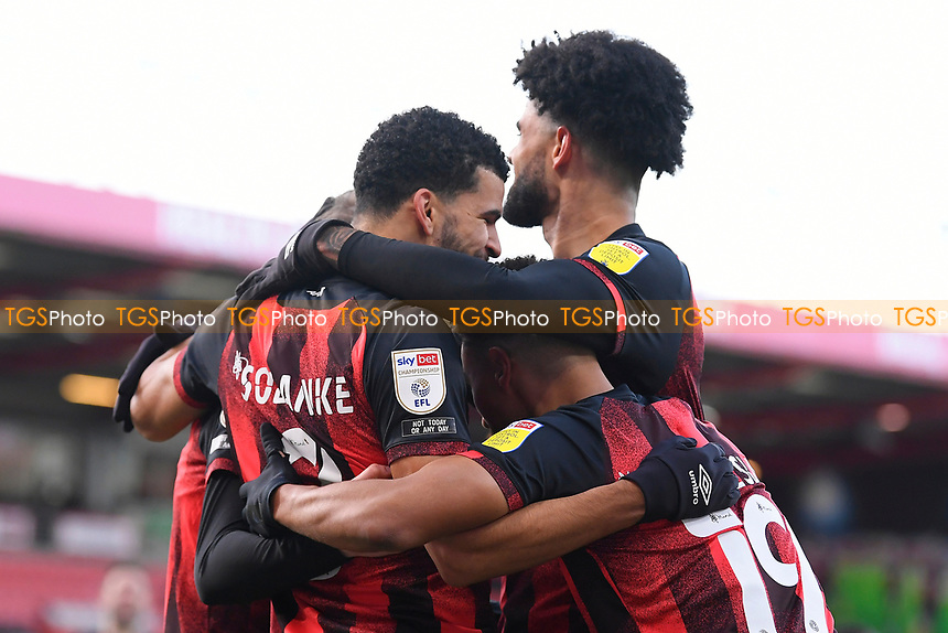 Dominic Solanke of AFC Bournemouth is congratulated after scoring the first goal during AFC Bournemouth vs Huddersfield Town, Sky Bet EFL Championship Football at the Vitality Stadium on 12th December 2020