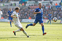 (L-R) Tom Carroll of Swansea City takes a shot past Phil Jagielka of Everton during the Premier League match between Swansea City and Everton at The Liberty Stadium, Swansea, Wales, UK. Saturday 14 April 2018