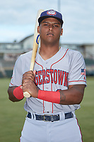 Hagerstown Suns catcher Israel Pineda (20) poses for a photo prior to the game against the Kannapolis Intimidators at Kannapolis Intimidators Stadium on August 26, 2019 in Kannapolis, North Carolina. The Suns defeated the Intimidators 4-1. (Brian Westerholt/Four Seam Images)