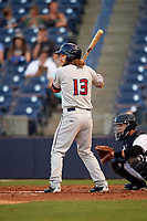 Fort Myers Miracle right fielder Max Murphy (13) at bat during a game against the Tampa Yankees on April 12, 2017 at George M. Steinbrenner Field in Tampa, Florida.  Tampa defeated Fort Myers 3-2.  (Mike Janes/Four Seam Images)