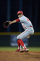 St. John's Red Storm relief pitcher Tyler Roche (46) in action against the Western Carolina Catamounts at Childress Field on March 12, 2021 in Cullowhee, North Carolina. (Brian Westerholt/Four Seam Images)