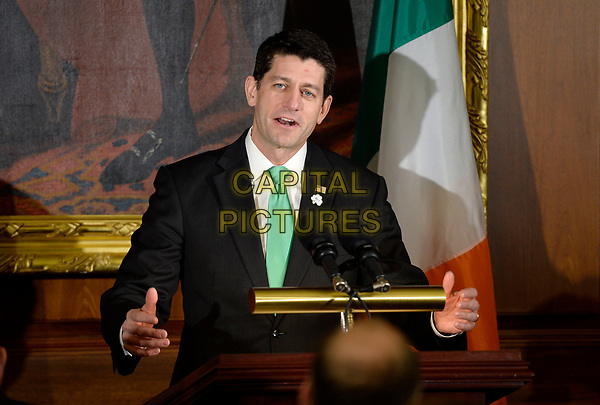 The Speaker of the United States House of Representatives Paul Ryan (Republican of Wisconsin) speaks during the Friends of Ireland Luncheon at the U.S. Capitol on March 16, 2017 in Washington, DC. <br /> CAP/MPI/RW<br /> ©RW/MPI/Capital Pictures
