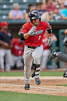Ramon Laureano (7) of the Nashville Sounds runs to first base against the Salt Lake Bees at Smith's Ballpark on July 27, 2018 in Salt Lake City, Utah. The Bees defeated the Sounds 8-6. (Stephen Smith/Four Seam Images)