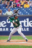 Lynchburg Hillcats second baseman Claudio Bautista (10) at bat during a game against the Wilmington Blue Rocks on June 3, 2016 at Judy Johnson Field at Daniel S. Frawley Stadium in Wilmington, Delaware.  Lynchburg defeated Wilmington 16-11 in ten innings.  (Mike Janes/Four Seam Images)