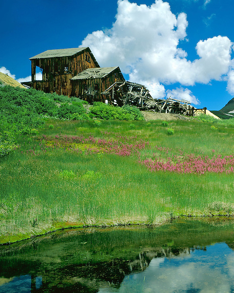 Old mine in the San Juan Mountains, Silverton, Colorado, USA .  John leads wildflower photo tours into American Basin and throughout Colorado. All-year long.