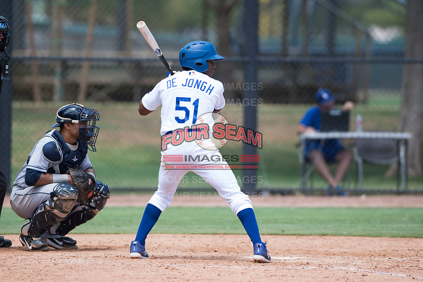 AZL Dodgers center fielder Aldrich De Jongh (51) at bat in front of catcher Luis Roman (4) during an Arizona League game against the AZL Padres 2 at Camelback Ranch on July 4, 2018 in Glendale, Arizona. The AZL Dodgers defeated the AZL Padres 2 9-8. (Zachary Lucy/Four Seam Images)