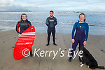 Sinead O'Donnell, Thomas White and Eimer O'Sullivan ready to hit the surf in Banna beach on Sunday.