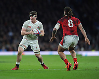 Tom Curry of England in action against Josh Navidi and Hadleigh Parkes of Wales during the Guinness Six Nations match between England and Wales at Twickenham Stadium on Saturday 7th March 2020 (Photo by Rob Munro/Stewart Communications)