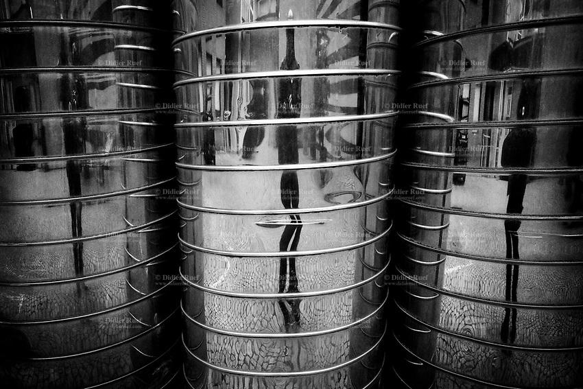 Switzerland. Canton Ticino. Lugano. City center. Architecture. Self-portrait on metal tubes. 3.01.2020  © 2020 Didier Ruef