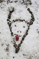 Naturkunst im Winter, Kinder haben aus Steinen, Hagebutten und Kletten einen Stier, Stierkopf in den Schnee gelegt