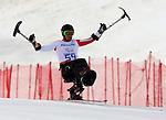 Josh Dueck, Sochi 2014 - Para Alpine Skiing // Para-ski alpin.<br /> Josh Dueck wins silver in the men's sitting downhill event // Josh Dueck remporte l'argent dans l'épreuve de descente assise masculine. 08/03/2014.