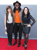 """UNIVERSAL CITY, CA, USA - APRIL 15: Christina Grimmie, Delvin Choice, Kat Perkins at NBC's """"The Voice"""" Season 6 Top 12 Red Carpet Event held at Universal CityWalk on April 15, 2014 in Universal City, California, United States. (Photo by Xavier Collin/Celebrity Monitor)"""